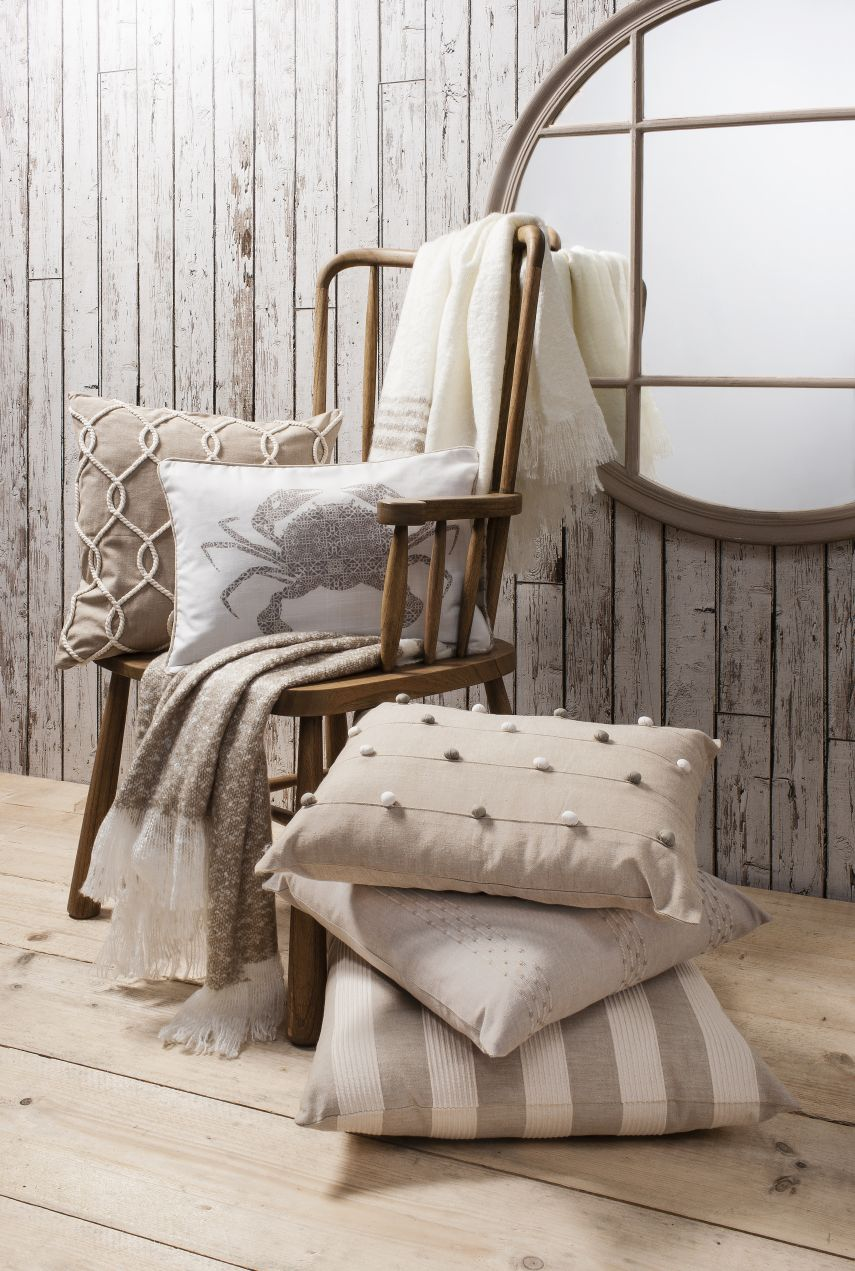 Barnacle, Dune, Boardwalk, Castaway, Crab Cushions & Retreat Throw Taupe