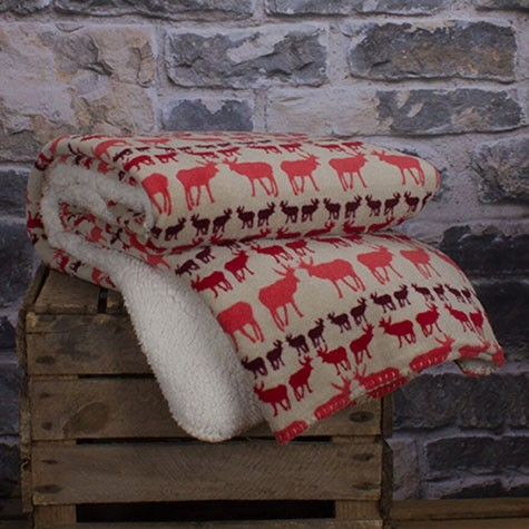 HARTLEY STAG SHERPA THROW